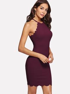 Scallop Edge Halter Dress