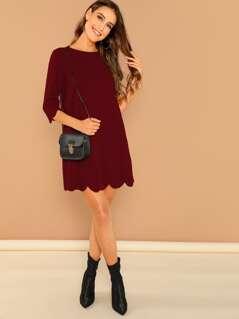 Scallop Edge Solid Dress