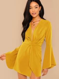 Flounce Sleeve Twist Plunging Neck Dress