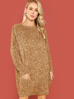 Pocket Front Faux Fur Tunic Dress