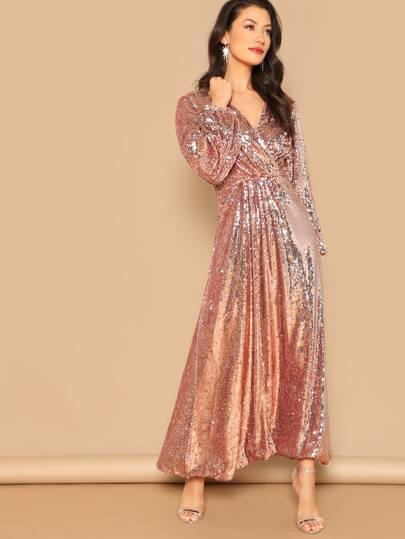 Lantern Sleeve Surplice Sequin Maxi Dress
