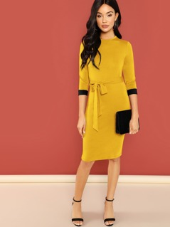 Contrast Cuff Belted Pencil Dress