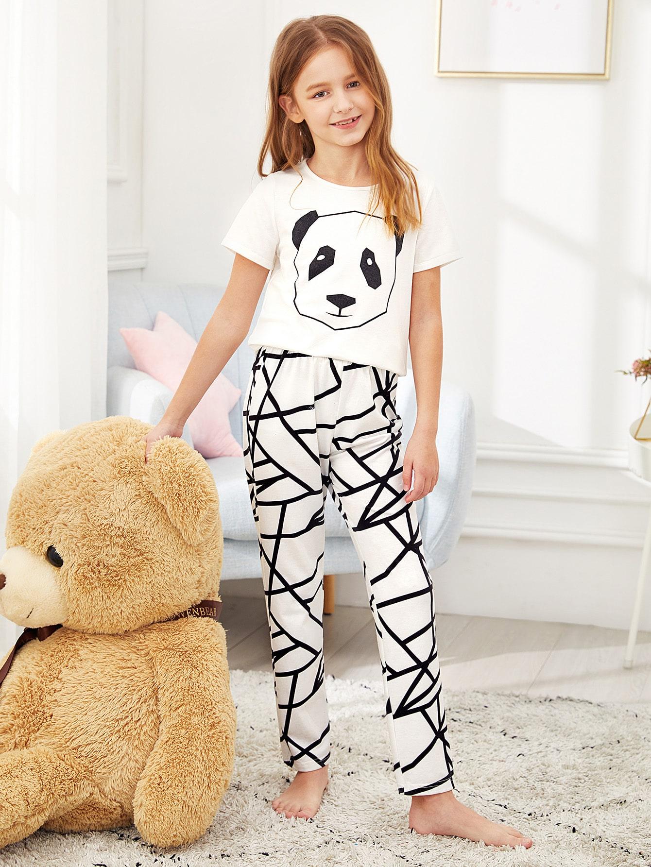Футболка с принтом и геометрические брюки пижамы комплект для девочек от SheIn