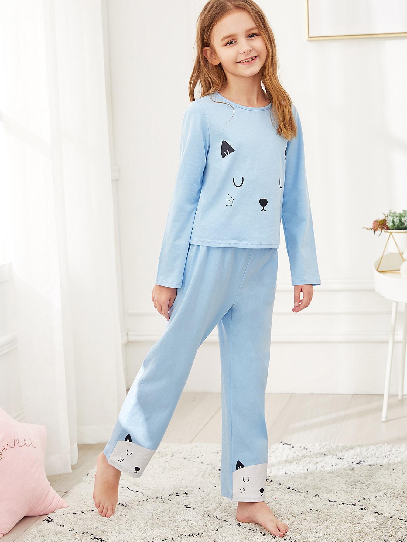 Женская футболка с графическим принтом и брюки пижама комплект от SheIn