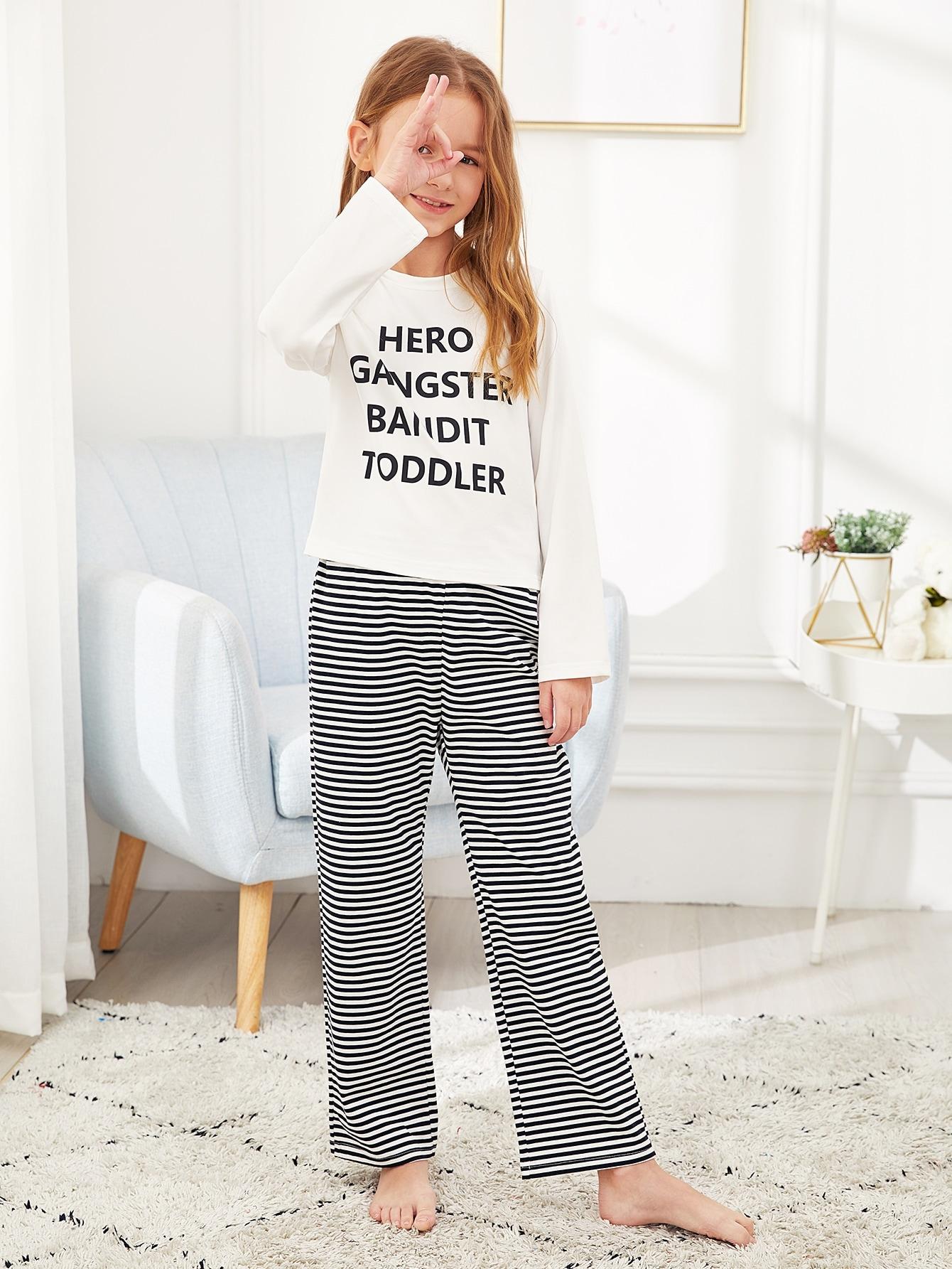 Пижамный комплект футболка с текстовым принтом и брюки в полоску для девочек от SheIn