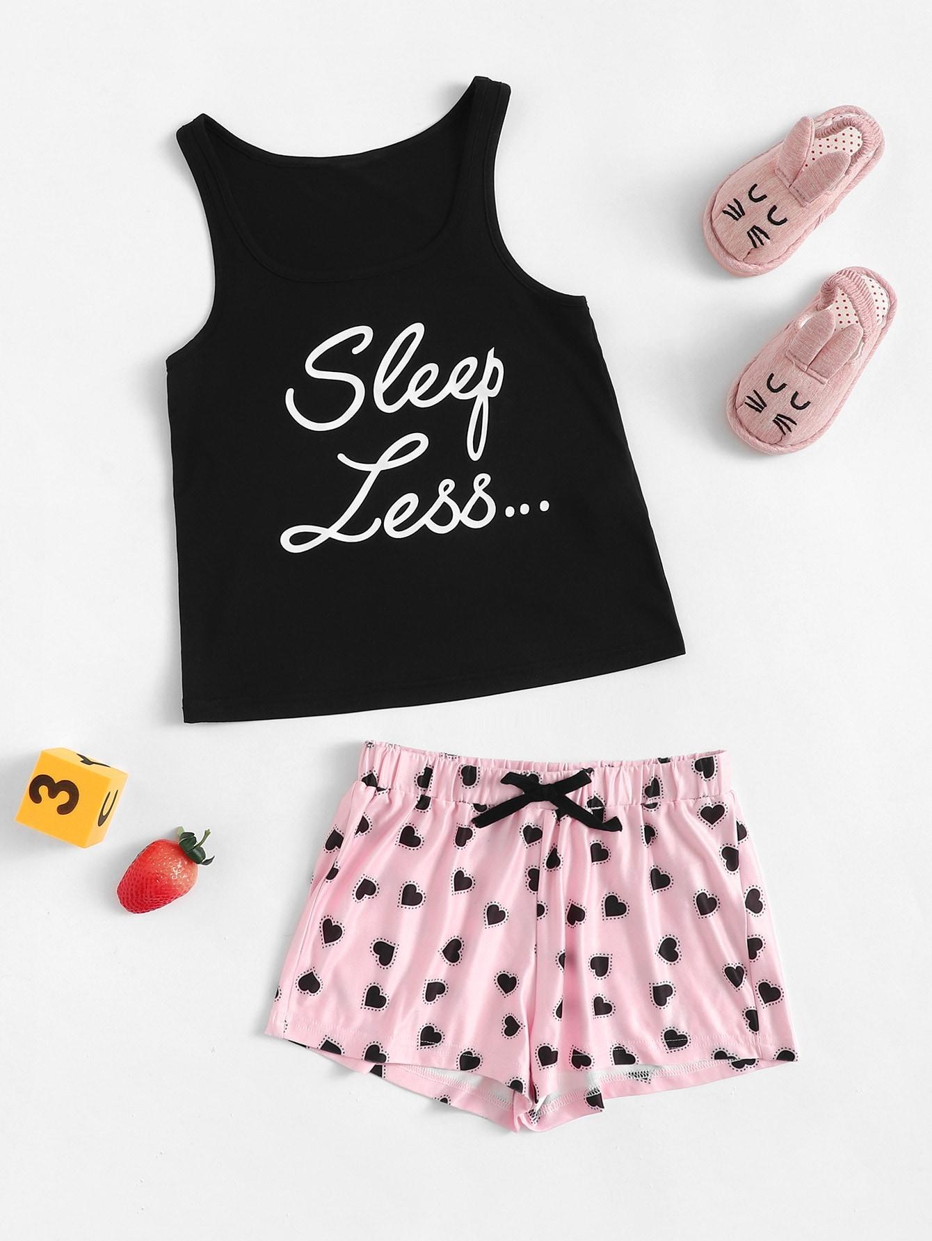 Пижамный комплект топ с текстовым принтом и шорты для девочек от SheIn