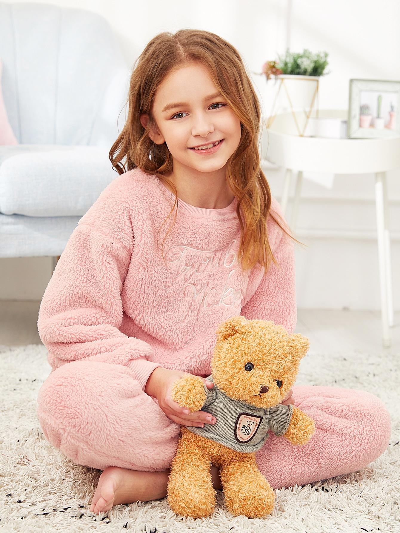 Пижамный комплект пушистый пуловер и брюки для девочек от SheIn
