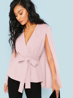 Surplice Wrap Belted Cape Coat