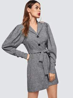 Puff Sleeve Buttoned Marled Knit Coat