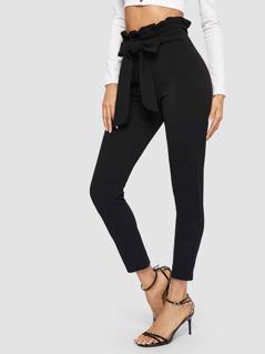 Paperbag Waist Skinny Pants With Belt