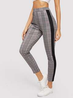 Contrast Side Seam Plaid Skinny Pants
