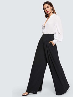 Zip Back Solid Culottes Pants