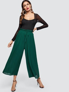 Frilled Drawstring Waist Pleated Pants