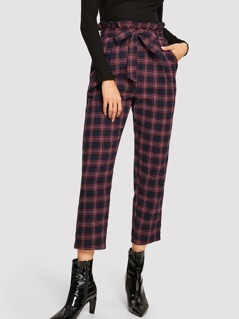 Paperbag Waist Belted Plaid Pants