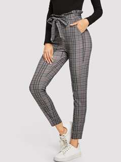 Paperbag Waist Pocket Plaid Pants
