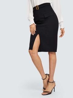 Slit Front Skirt With Buckle Belt