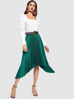 Elastic Waist Asymmetrical Skirt