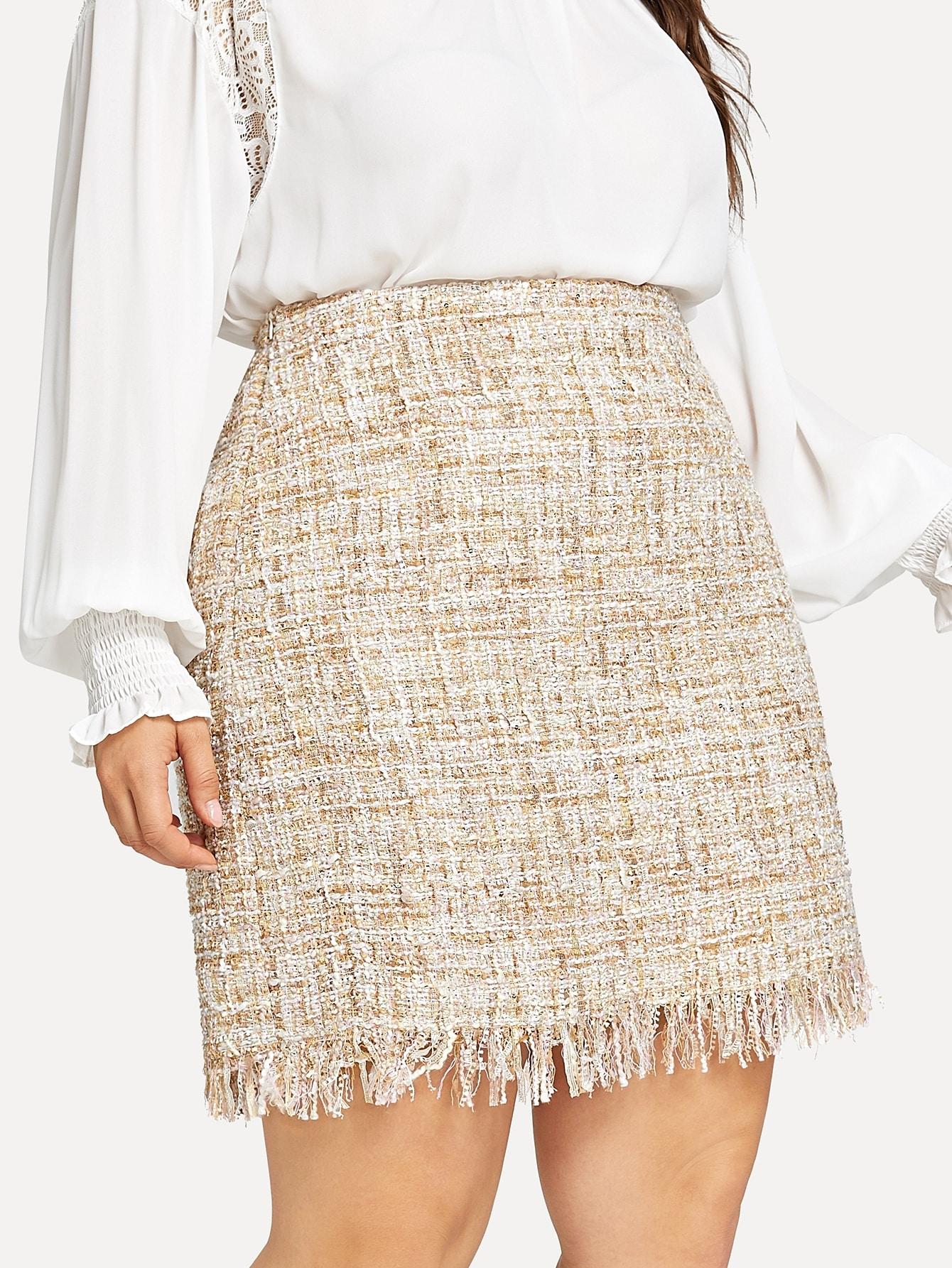 Купить Размер плюс твидовая юбка со складкой, Franziska, SheIn