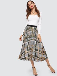 Wide Waistband Mixed Print Skirt