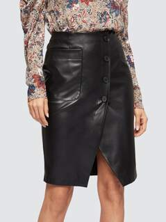 Slit Button Up PU Skirt