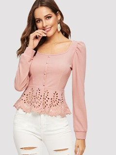 Button Up Laser Cut Scallop Peplum Blouse