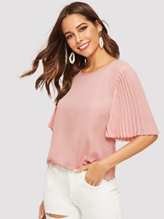 Pleated Sleeve Solid Blouse