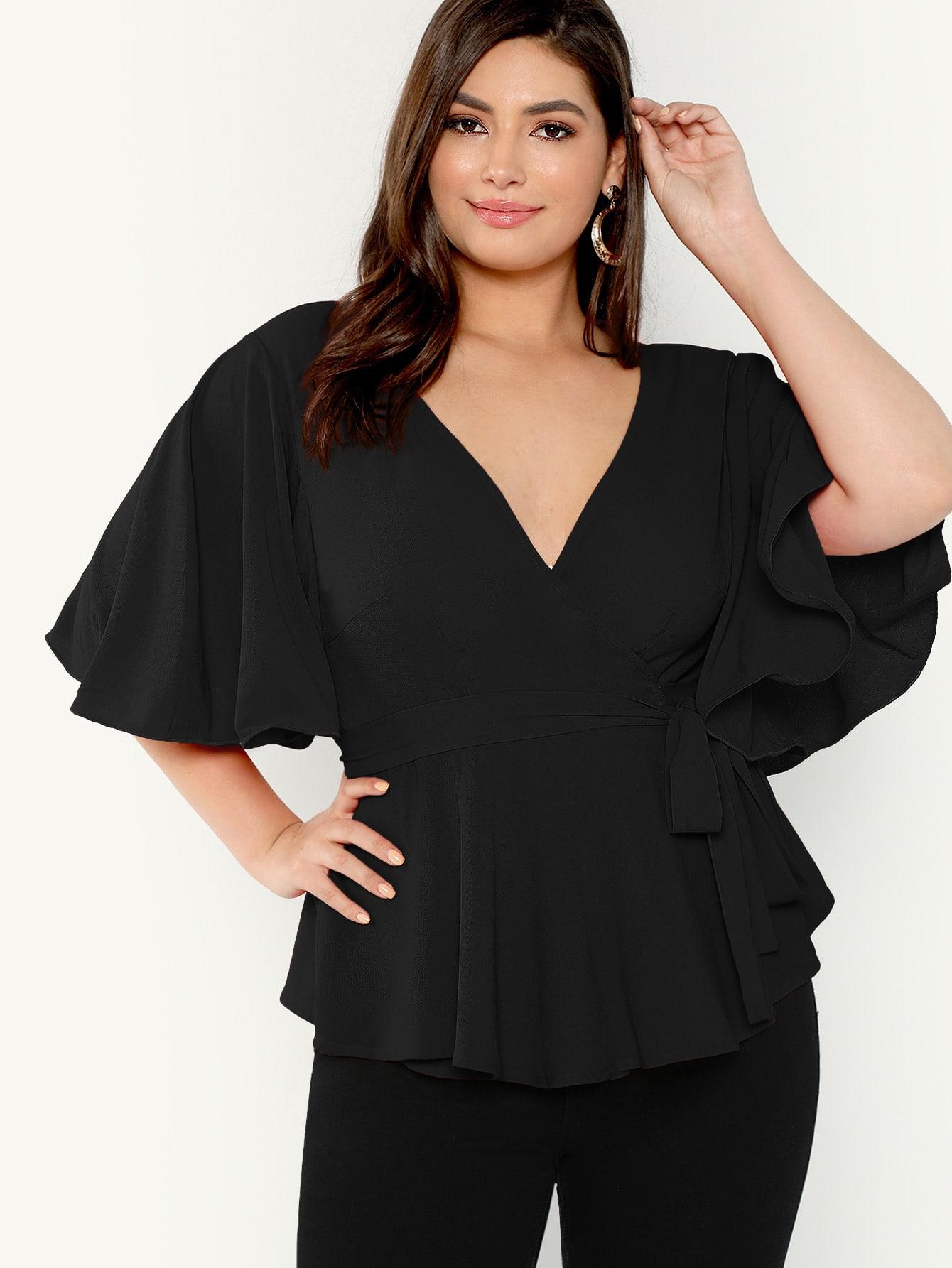 Купить Размер плюс однотонная блузка с оригинальным рукавом и глубоким v-образным вырезом, Elisa Krug, SheIn