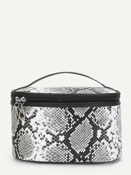 Snakeskin Print Zipper Around Makeup Bag