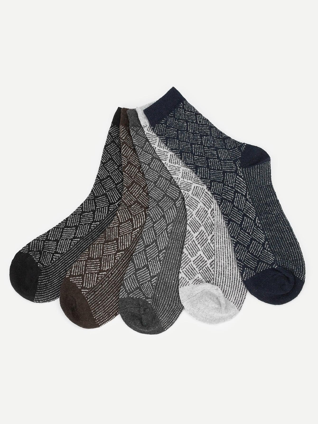 Купить Мужские геометрические носки 5 пар, null, SheIn