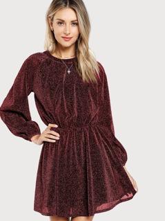 Slit Button Back Glitter Dress