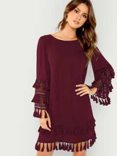 Lace Cuff Tassel Embellished Tunic Dress