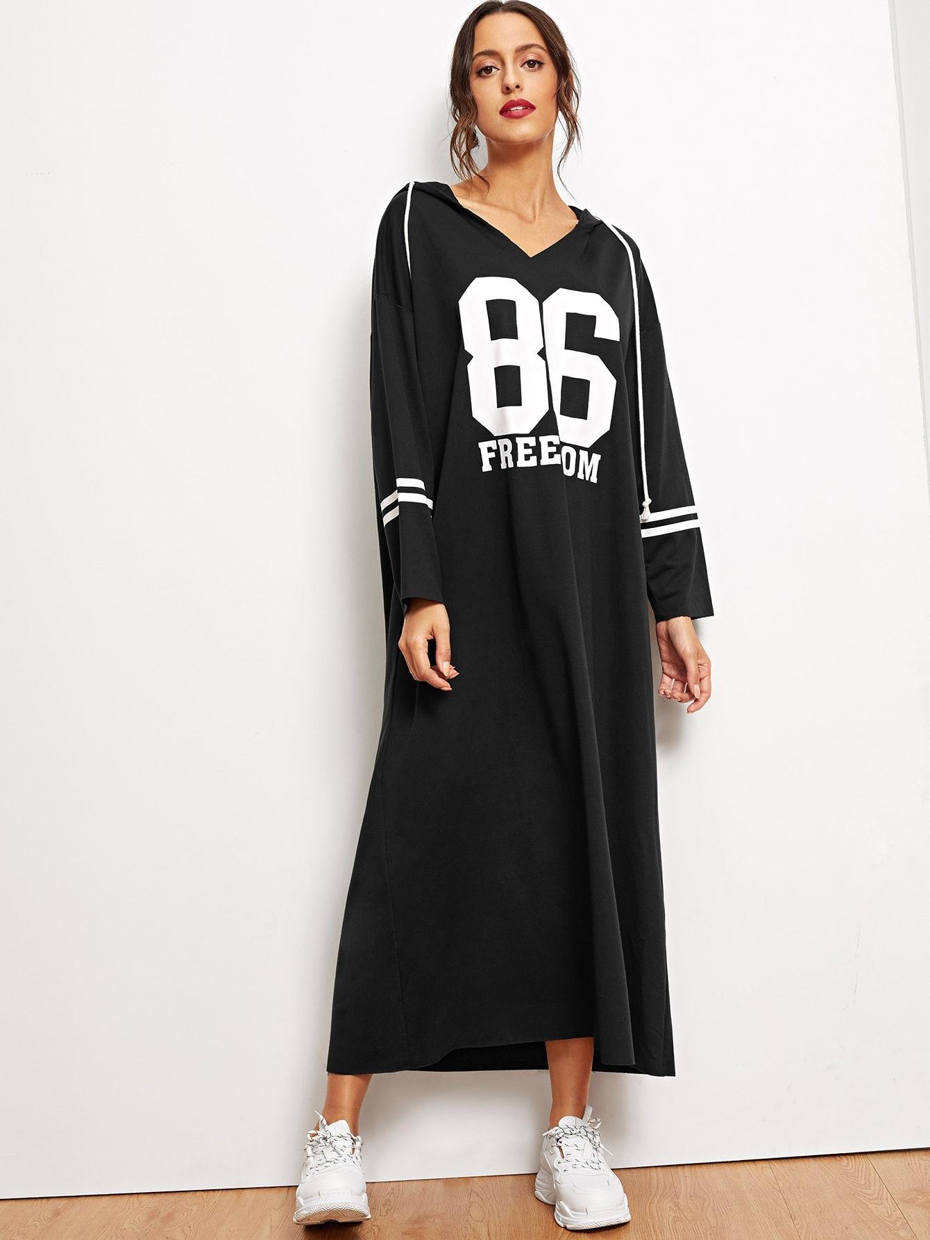 Длинное платье с капюшоном и текстовым принтом, Mary P., SheIn  - купить со скидкой