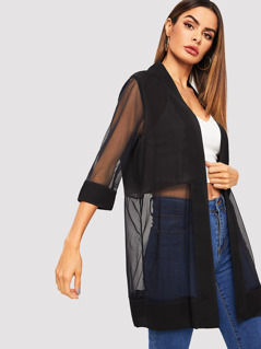 Open Front Solid Sheer Mesh Coat
