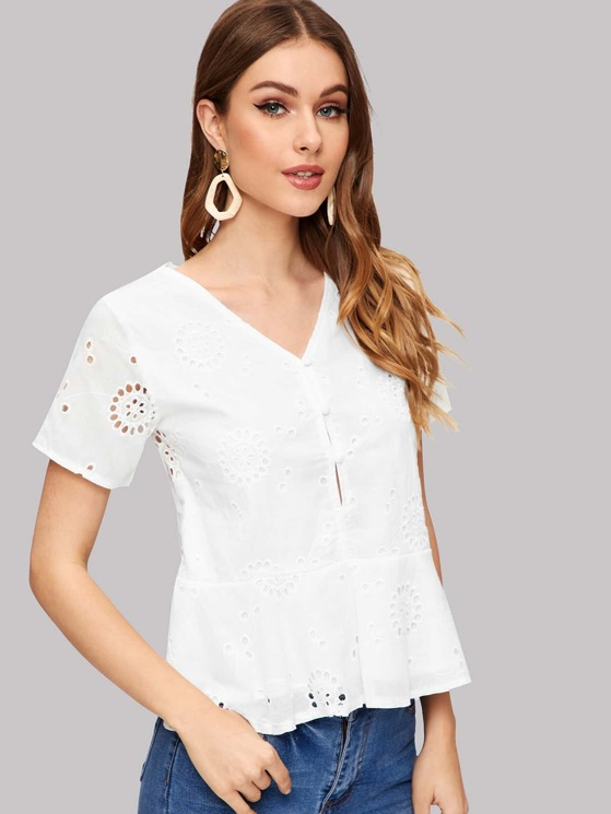 2201205d Embroidered Eyelet Button Front Peplum Top | MakeMeChic.COM