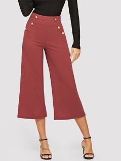 Double Breasted Wide Leg Pants
