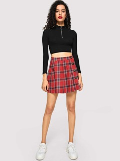 Button Up Plaid Wrap Skirt