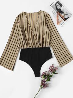 Surplice Neck Bell Sleeve Striped Bodysuit