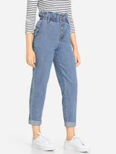 Paperbag Waist Button Fly Jeans