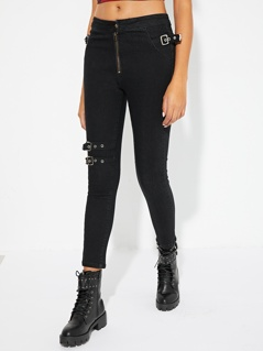 Zip Up Buckle Strap Detail Jeans