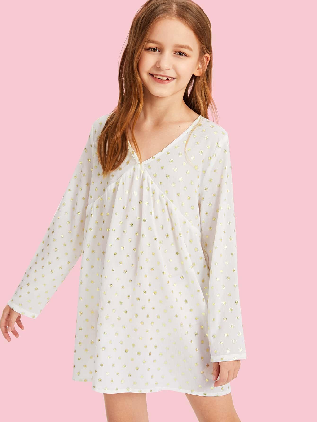 Купить Платье в горошек с v-образным вырезом для девочек, Sashab, SheIn