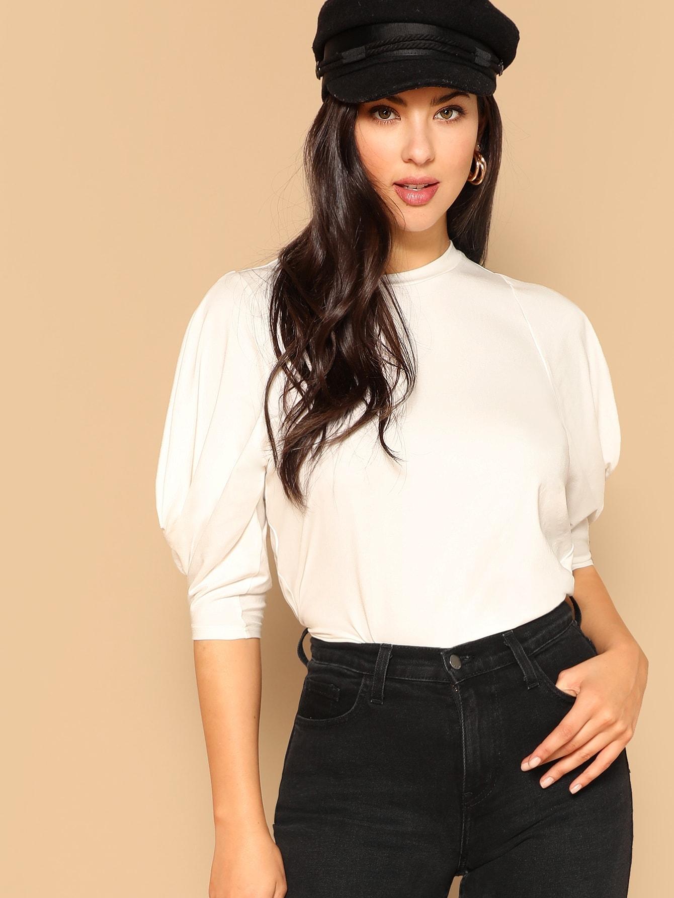 Купить Однотонная футболка с круглым вырезом и оригинальным рукавом, Christina N., SheIn