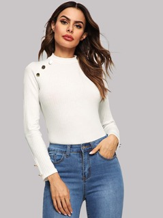 Ribbed Knit Button Mock Neck Tee