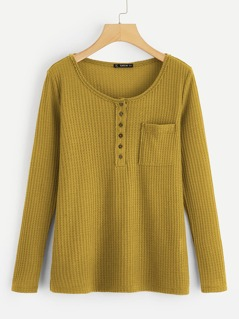 Pocket Patched Half Placket Waffle Knit Top