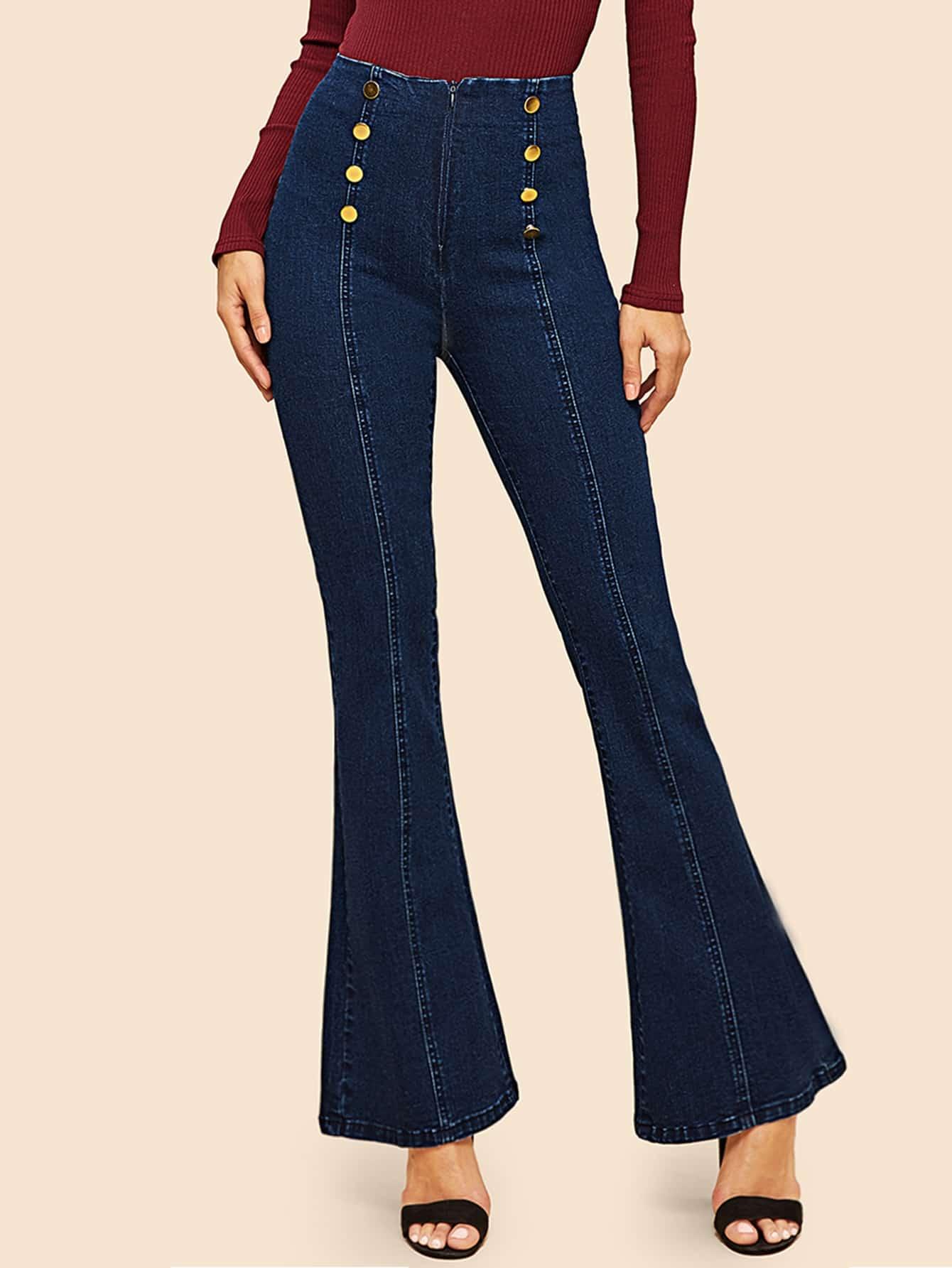 Двубортные джинсы клеш SheIn