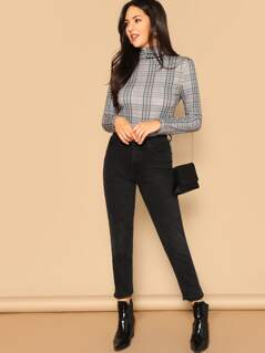 High Neck Form Fitted Plaid Tee
