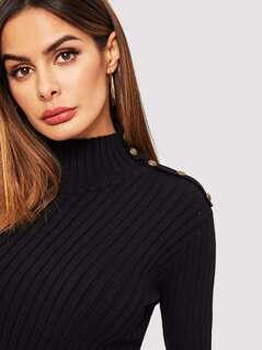 263e36eabe9cf Mock-neck Button Detail Rib-knit Sweater | MakeMeChic.COM