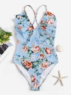Random Floral Ruffle Crisscross One Piece Swimwear