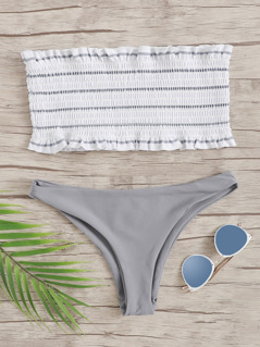 Random Striped Frill Trim Shirred Bandeau Bikini Set