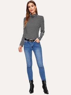 Turtle Neck Striped Tee