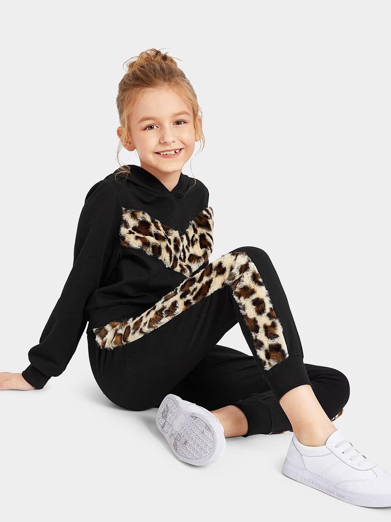 Купить Женская толстовка с леопардовым искусственым мехам и спортивные брюки комплект, Sashab, SheIn
